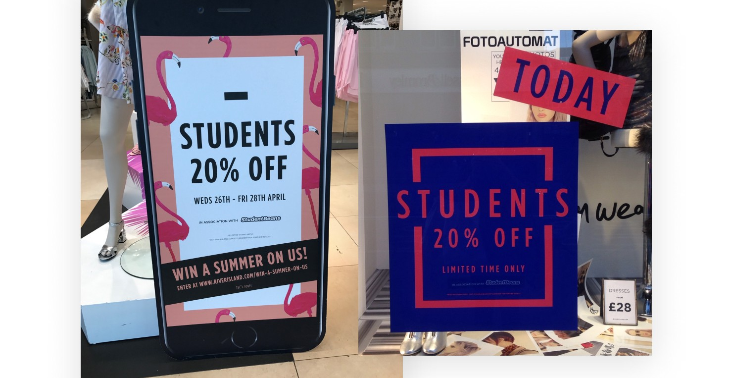 River Island student discount launch day